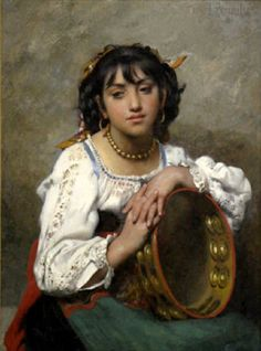The Tambourine Girl Léon Bazile Perrault – French) Vintage Gypsy, Vintage Art, Frame Drum, Vampire Stories, Gypsy Life, Gypsy Soul, Gypsy Women, Tambourine, Ludwig