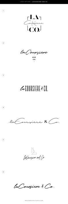La Coursiere & Co. \ L&Co. photography branding, branding, logo design, logo options. Graphic design, design, modern design. packaging design