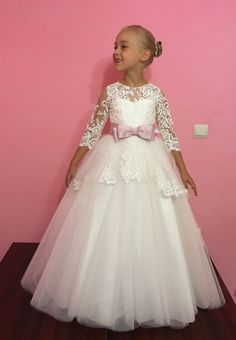 Items similar to Ivory Flower Girl Dress - Wedding Holiday Party Bridesmaid  Birthday Flower Girl Ivory Tulle Lace Dress 14-1065 on Etsy eed3a425a9b9