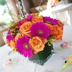 Roses and Gerbers...pretty combo and in my colors :)
