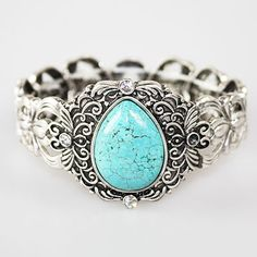Pear Shaped Turquoise Silver Bracelet — I doubt that this is real turquoise, but this is so pretty.