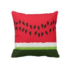 Dibujo animado rojo y verde divertido de la rebana cojines
