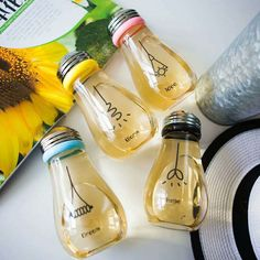 480ML Light Bulb Glass Beverage Milk Fruit Juice Drink Bottle Cup With Lid Water Glass High Boron Silicon Glass Lamp Bulb Shaker