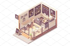 Isometric Art, Isometric Design, Bakery Shop Design, Store Design, Cafe Interior Design, Cafe Design, Architecture Concept Drawings, Architecture Design, Home Room Design