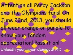 "Let's do it for 2014. I am actually getting an orange t-shirt next week and I have fabric paint so i'm gonna paint ""Camp Half Blood"" on it and I have percy's camp beads too."