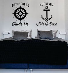 Be The One to Guide Me Quote Anchor Boat Wheel Nautical Ocean Beach Decal Sticker Wall Vinyl Art Decor