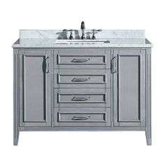 Ove Decors Grey Undermount Single Sink Birch Bathroom Vanity with Natural Marble Top (Common: 48-in x 22-in; Actual: 48-in x 22-in)