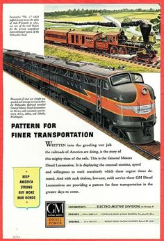 Magazine ad for the Milwaukee Road using GM Diesel engines .