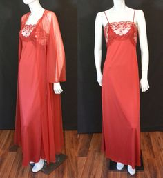 Vintage 1980s Blanche by Ralph Montenero Romantic Lacy Peignoir Set Gown Nightgown Robe Burgundy Red by MemphisVintage on Etsy
