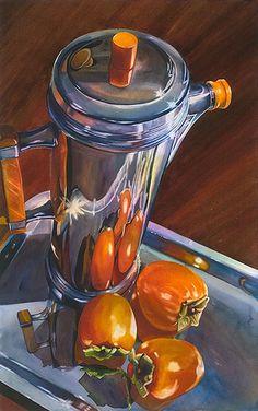 "Terri Hill, ""Deco-ration,"" watercolor Coffee and persimmons Painting Still Life, Still Life Art, Watercolor Fruit, Watercolor Paintings, Watercolours, Ap Drawing, Arte Sketchbook, Ap Studio Art, Guache"
