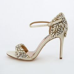 Badgley Mischka Tampa, Ivory. Crystal encrusted bridal sandals that elevates the glam factor of any dress. Wedding Shoes with major sparkle.