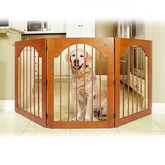 Universal Free Standing Pet Gate Wood insert Cherry Stain ** Check this awesome product by going to the link at the image. Wood Dog, Barn Wood, Pet Gate, Dog Gates, Wood Insert, Best Dog Training, Dog Fence, Dog Houses, House Dog