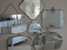 Vintage Mirrors one in the middle is so cute - miroir Rooms Ideas, Frameless Mirror, Vintage Mirrors, Beautiful Mirrors, Home And Deco, My New Room, Sweet Home, New Homes, Interior Design