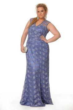 renda blue plus size dress