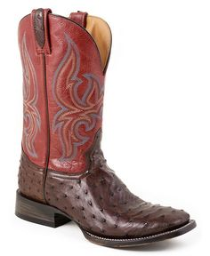 Stetson Chocolate Ostrich Vamp Cowgirl Boots - Square Toe