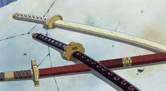 Zoro's current katanas: Wadō Ichimonji (white), Sandai Kitetsu (red), Shusui (black)
