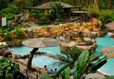 At the Los Lagos resort in San Jose, Costa Rica there is a hot spring warmed by the volcano that is close to the resort