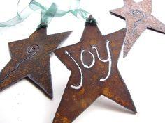 Rusty Star Charm Affirmations Metal Garden Art by GeminiDragonfly, $45.00