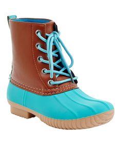 Tan & Blue Mission Rain Boot