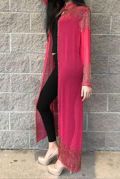 Drape jacket - Beautiful Shrug Jacket Modern Standard Look Indian Bollywood style Only jacket Handmade Pakistani Indian Designer Outfits, Indian Outfits, Designer Dresses, Mode Abaya, Mode Hijab, Pakistani Dress Design, Pakistani Dresses, Stylish Dresses, Fashion Dresses