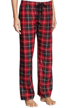 """Cute red, black, and ivory plaid lounge or pajama bottoms in lightweight premium cotton with a roll tab contrast hem so you can wear them cropped or full length. The contrast polka dot fabric in on the entire inside of the pant also. A black drawstring tie waist allows you to adjust the fit.    Measures: 9"""" rise; 31"""" inseam; 26"""" crop length   Red Plaid Bottoms by The Dressing Room. Clothing - Lingerie & Sleepwear - Sleepwear California"""