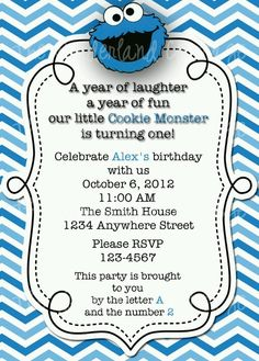 Cookie monster birthday party cookie toss game cookie monster bday cookie monster invite voltagebd Images