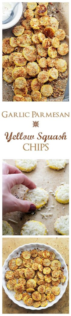 Made it- Can also make with zucchini. Garlic Parmesan Yellow Squash Chips – A healthy snack or appetizer that is incredibly flavorful, crispy, and absolutely delicious! Vegetable Recipes, Vegetarian Recipes, Cooking Recipes, Healthy Recipes, Yellow Squash Chips, Garlic Parmesan, Parmesan Squash, Vegetable Dishes, Appetizer Recipes