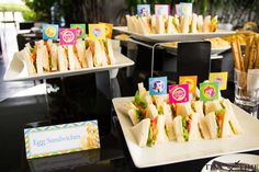 Sandwiches at a My Little Pony birthday party! See more party planning ideas at CatchMyParty.com!