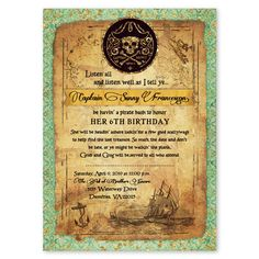 Pirate Map Antique Style Birthday Party Invitations