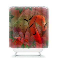 Shower Curtain Tropical Flamingo Floral Abstract by FolkandFunky