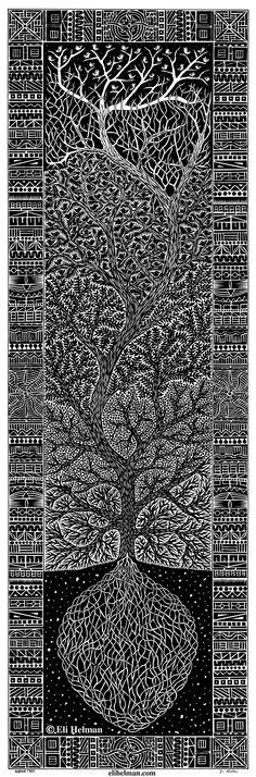 Waking Tree, 22x7, black pen on paper