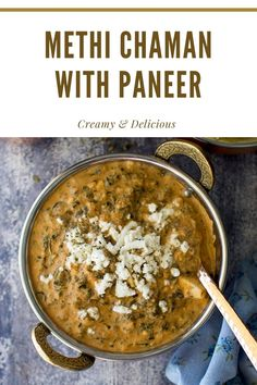 Creamy Methi Chaman made with fresh methi leaves and freshly ground masala/ spice paste. Perfect accompaniment to rice and roti. #cookshideout #indian #vegetarian Curry Recipes, Vegan Recipes, Kashmiri Recipes, Swiss Chard Recipes, Masala Spice, Vegetarian Curry, Meals For One, Weeknight Meals, Food Print