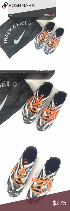 "CUSTOM one of kind NIKE track shoes/spikes These are my personal CUSTOM one of a kind track spikes for when I ran competitive track. They were custom made by Nike.  black and white stripes with bright orange accents. They have scuffs and markings overall and need new spikes. But they come with the bag and the box. These cost me well over 300. They also have an inscription ""my time to fly"" on the back heels it's possible that this could be removed if you desired. Women's 11. Men's 9 DO NOT…"