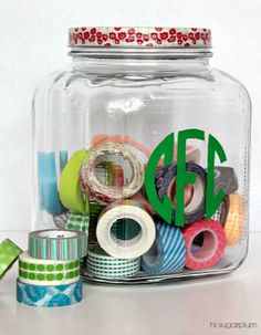Hi Sugarplum | Easy DIY Monogrammed Jar. Perfect for storing everything from snacks to crafts!