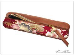 Federmäppchen Leder & KIRSCHBLÜTEN Stoff japanisch von Henriette Claire auf DaWanda.com