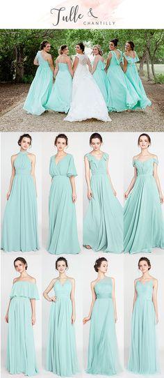 mint green wedding bridesmaid dresses