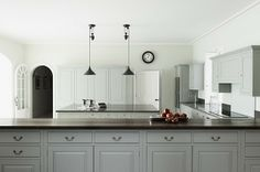 Mad About . Beautiful Kitchens plain english kitchen with grey cupboards and enamel pendant lighting Mad About . Beautiful Kitchens plain english kitchen with grey cupboards and enamel pendant lighting Plain English Kitchen, Swedish Kitchen, English Kitchens, Kitchen Interior, Kitchen Design, Kitchen Ideas, Classical Kitchen, Grey Cupboards, Adams Homes