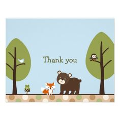 Forest Friends Forest Animal Thank You Note Cards Personalized Invite Thank You Note Cards, Custom Thank You Cards, Custom Cards, Invitation Cards, Custom Invitations, Birthday Invitations, Invite, Forest Friends, Forest Animals