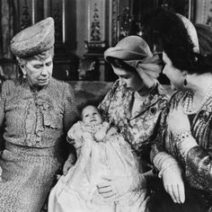 Four generations of Royal Ladies: baby Princess Anne with Queen Mary, Queen Elizabeth (the future Queen Mother) and Princess Elizabeth - who would go on to be Queen Elizabeth II. Baby Queen, Queen Mother, Queen Mary, Queen Elizabeth Ii, Baby Princess, Windsor, Tsar Nicolas, Queen 90th Birthday, Royals