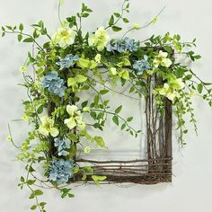 Crooked Tree Creations Is The Home Of Unique Floral Decor, Wreaths And Arrangements From Cute And Whimsical To Upscale And Sophisticated. Deco Floral, Arte Floral, Beautiful Flower Arrangements, Beautiful Flowers, Easter Flower Arrangements, Artificial Floral Arrangements, Artificial Flowers, Picture Frame Wreath, Square Wreath