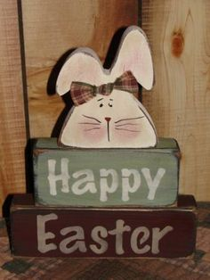 Happy Easter Blocks With Bunny On Top Easter Projects, Easter Crafts, Easter Decor, Easter Ideas, Spring Crafts, Holiday Crafts, Easter Tablecloth, Christian Holidays, Easter Colors
