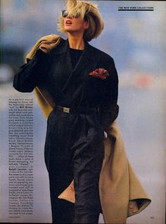 Vogue US September 1984 A New Approach... to the Season's Standout Tailoring Photographer: Hans Feurer Models: Ashley Richardson, Ariane Koi...