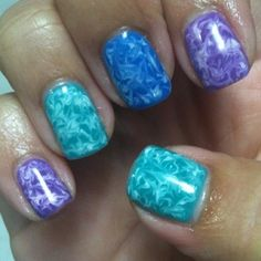 Gelish Marbled Effect- Done with a toothpick. Gonna have to try this. Water marbling way too messy!