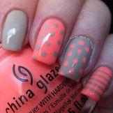 Pink and gray polka dot and stripes nail art design