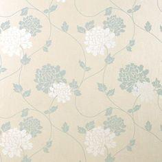 Beige & Blue Floral Wallpaper | Isodore Duck Egg Wallpaper