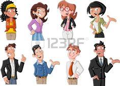Grupo de gente joven feliz de dibujos animados Foto de archivo