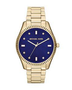 Michael Kors Golden Stainless Steel Blake Three-Hand Glitz Watch.