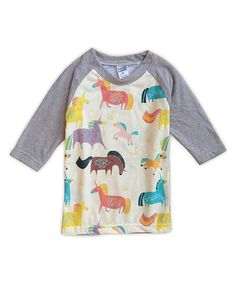 Take a look at this Cream & Gray Unicorns Sublimated Raglan Tee - Toddler & Girls today!