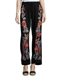 Angeline Embroidered Wide-Leg Easy Pants, Plus Size