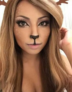 16 deer makeup and antler ideas for the cutest Halloween costume # Hair . - 16 deer makeup and antler ideas for the cutest Halloween costume # Hair - Deer Halloween Makeup, Reindeer Makeup, Halloween Mono, Cute Halloween Costumes, Halloween Ideas, Pretty Halloween, Deer Costume Makeup, Reindeer Face Paint, Halloween College